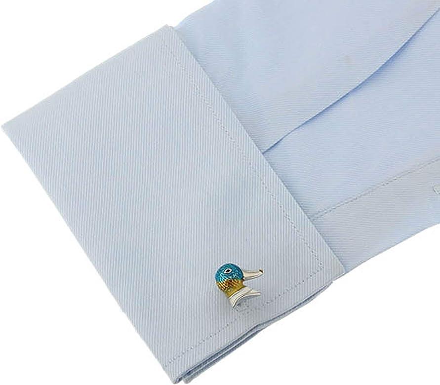 Daesar Gemelos Hombre Gemelos Camisa Gemelo Novio Cobre Cabeza de Pato Gemelos para Novio Plata Azul Amarillo: Amazon.es: Joyería