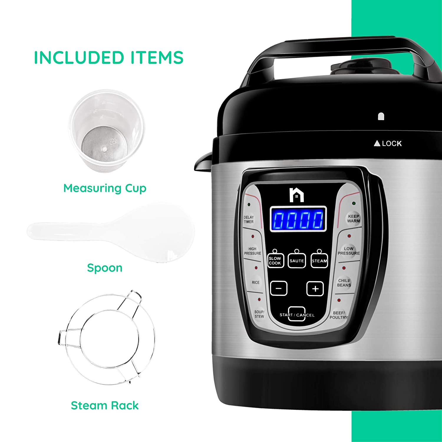 New House Kitchen Electric 9-in-1 Programmable Multicooker Prepare Meals in an Instant Saut/é Pan Multifunctional Rice Cooker Steamer Dishwasher Safe Aluminum Pot Soup Maker 2.5 Quart