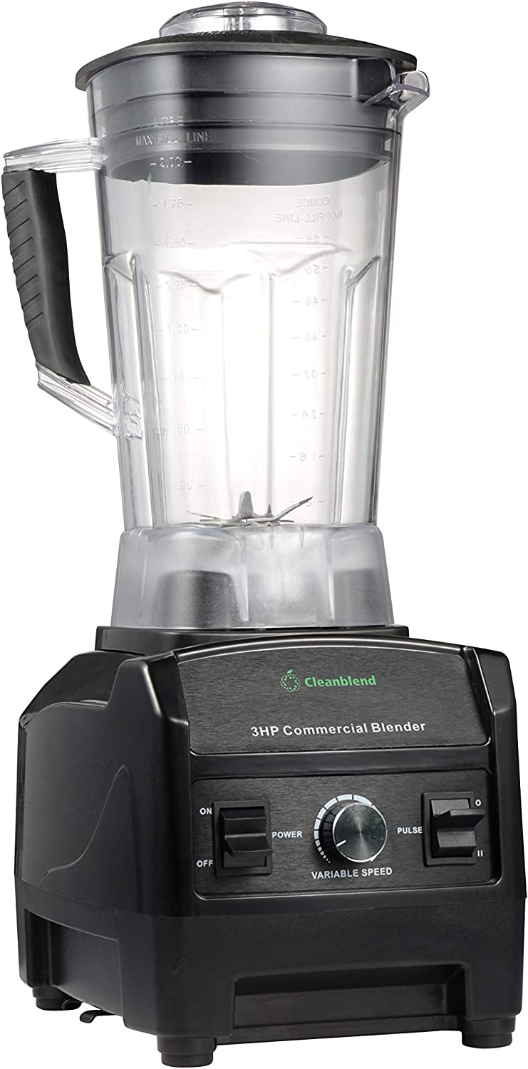 Blender By Cleanblend: Smoothie Blender, Commercial Blender, Mixer, 64 Ounce BPA Free Jar, Stainless Steel 8 Blade System