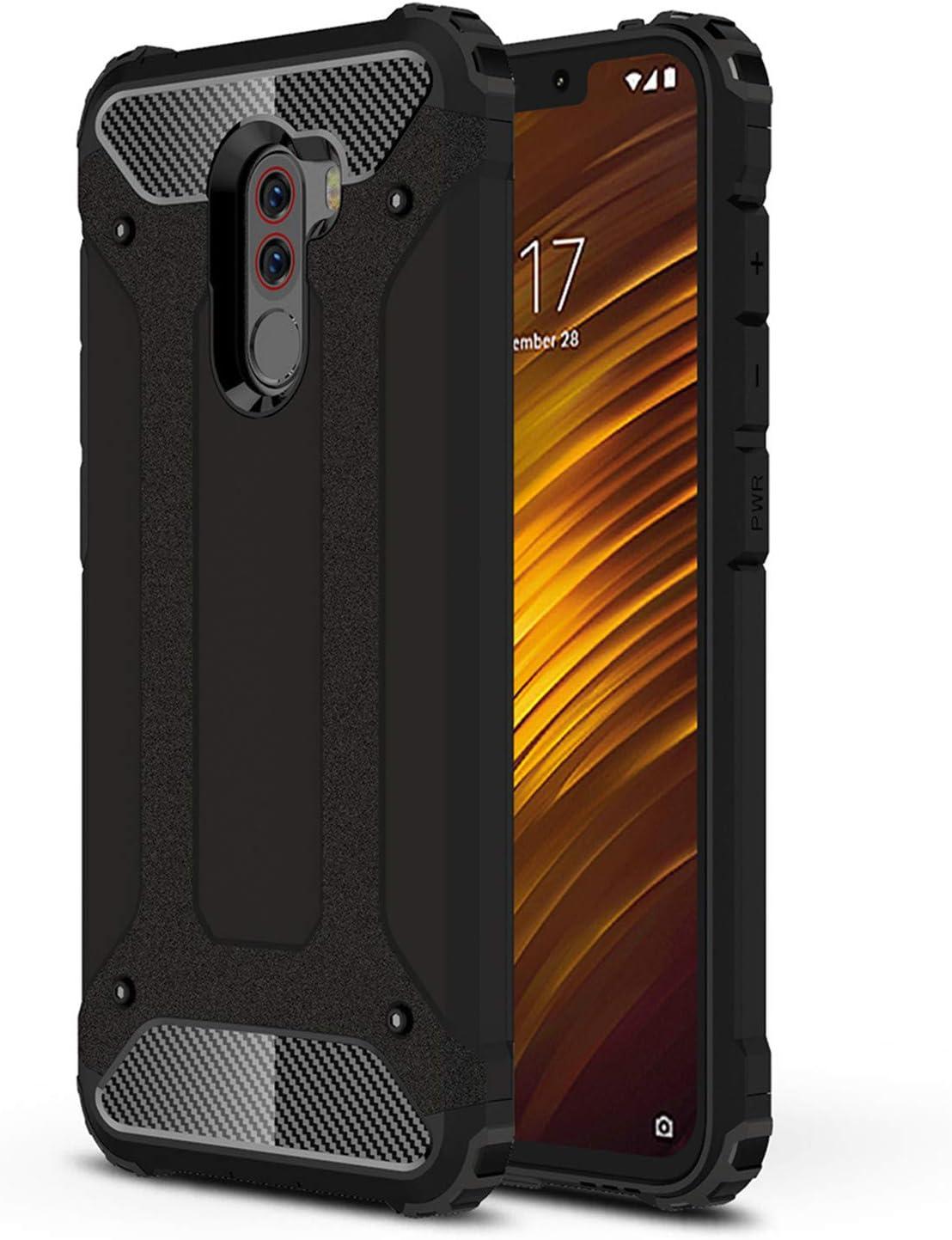 LXHGrowH Funda Xiaomi Pocophone F1, Fundas 2in1 Dual Layer Anti-Shock 360° Full Body Protección TPU Silicona Gel Bumper y Duro PC Armadura Carcasa para Xiaomi Pocophone F1, Negro