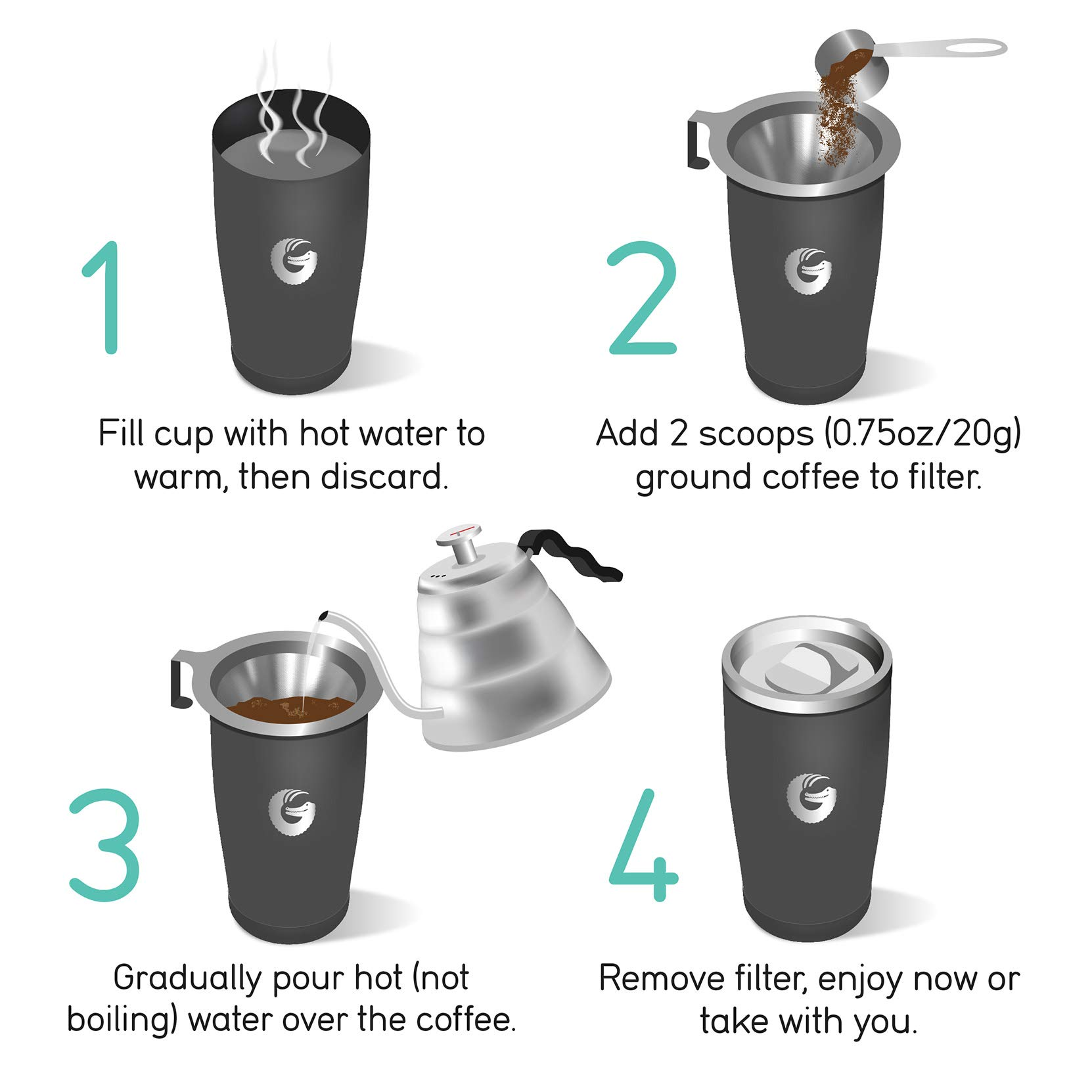 Coffee Gator Pour Over Coffee Maker - All in One Thermal Travel Mug and Brewer - Vacuum Insulated Stainless Steel - 20 ounce - Silver by Coffee Gator (Image #6)