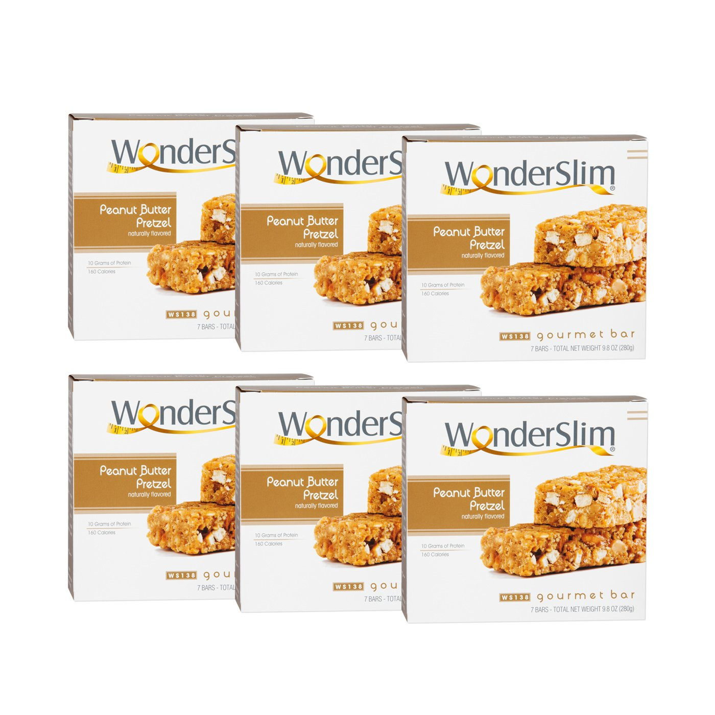 WonderSlim Gourmet High Protein Bar/Diet Bars with 10g Protein - Trans Fat Free, Cholesterol Free, Peanut Butter Pretzel - 6 Box Value-Pack (Save 10%)