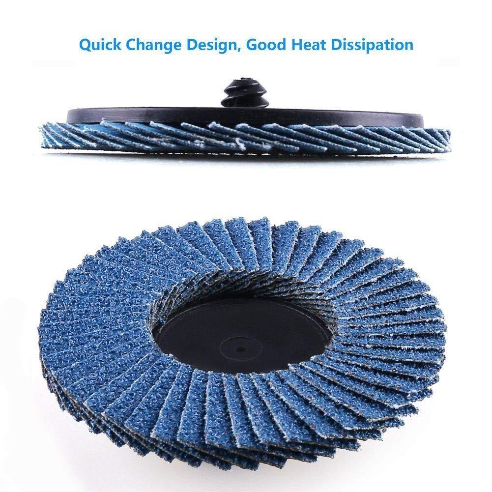 3in 60 Grit Flap Sanding Discs Wheels Type R Roloc Threaded Twist Lock Grinding 30 Pcs