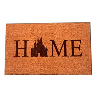 "Disney Castle Home Laser Engraved Coir Fiber Doormat 30"" x 18"""