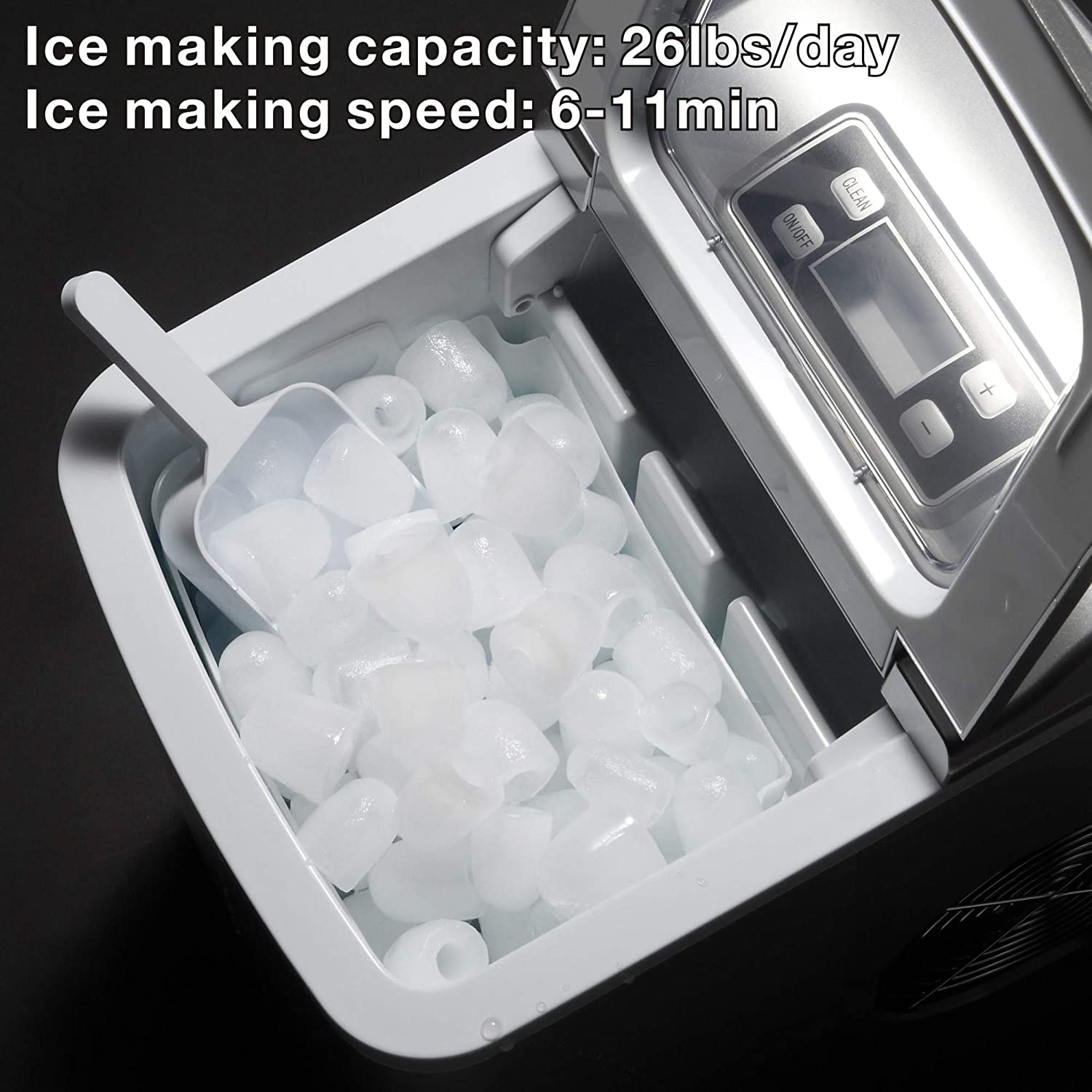 AGLUCKY Portable Ice Maker Machine Stainless Steel Covers,Countertop Automatic Ice Maker,26lbs//24h,9pcs S//L Size Ice Cube Ready in 6-13 Mins,1.5lbs Ice Storage with Ice Scoop,Indicator Function Black