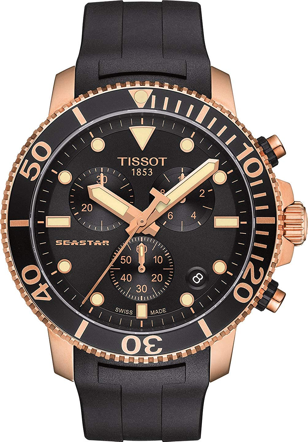 Tissot Seastar 1000 T120.417.37.051.00 Black Rubber Rose Gold Chronograph Mens Watch