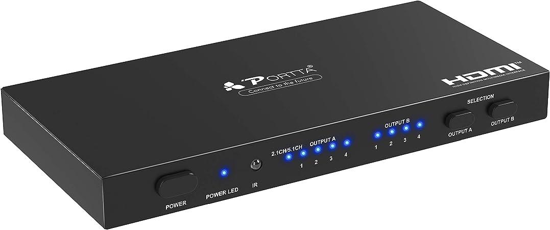 Portta Hdmi 4x2 Matrix Switch Splitter 4k Spdif Toslink Elektronik