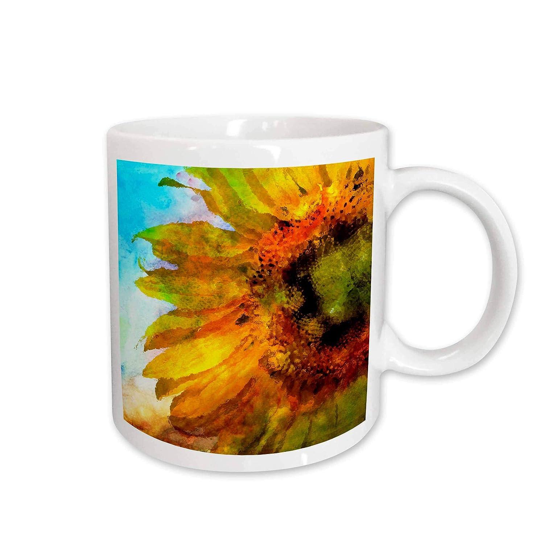 3D Rose 253382/_2Colorful Sunflower Flower Watercolor Illustration Ceramic Mug 15 oz White