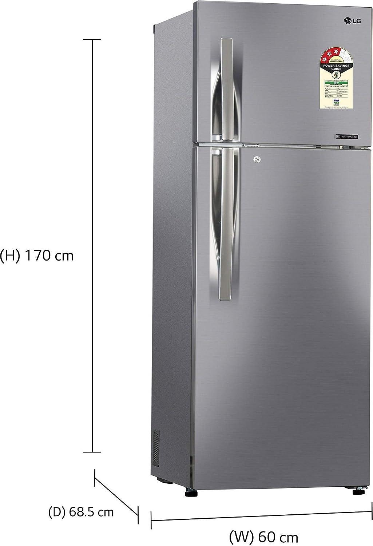LG 335 L 3 Star Frost Free Double Door Refrigerator(GL-C372RPZU DPZZEBN,  Shiny Steel, Inverter Compressor)