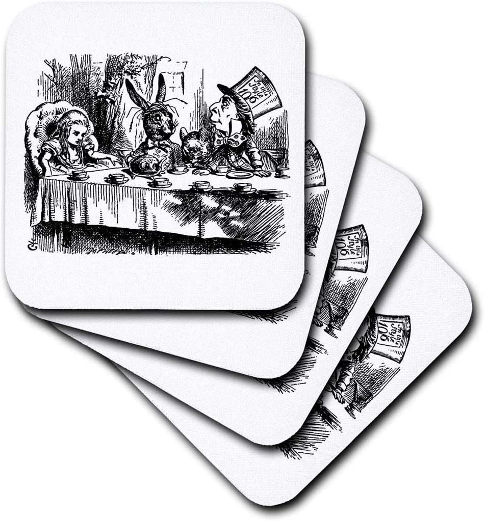 3dRose cst_193788_1 Mad Hatter Tea Party Illustration by John Tenniel. Alice in Wonderland-Soft Coasters, Set of 4