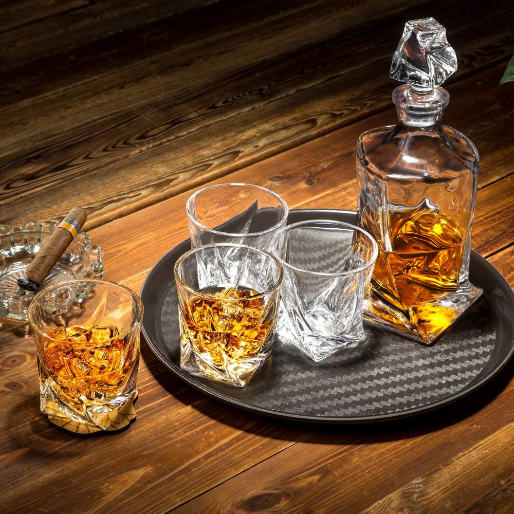 KANARS Twist Whiskey Decanter Set With 4 Glasses In Luxury Gift Box - Original Lead Free Crystal Liquor Decanter Set For Scotch or Bourbon, 5-Piece by KANARS (Image #6)