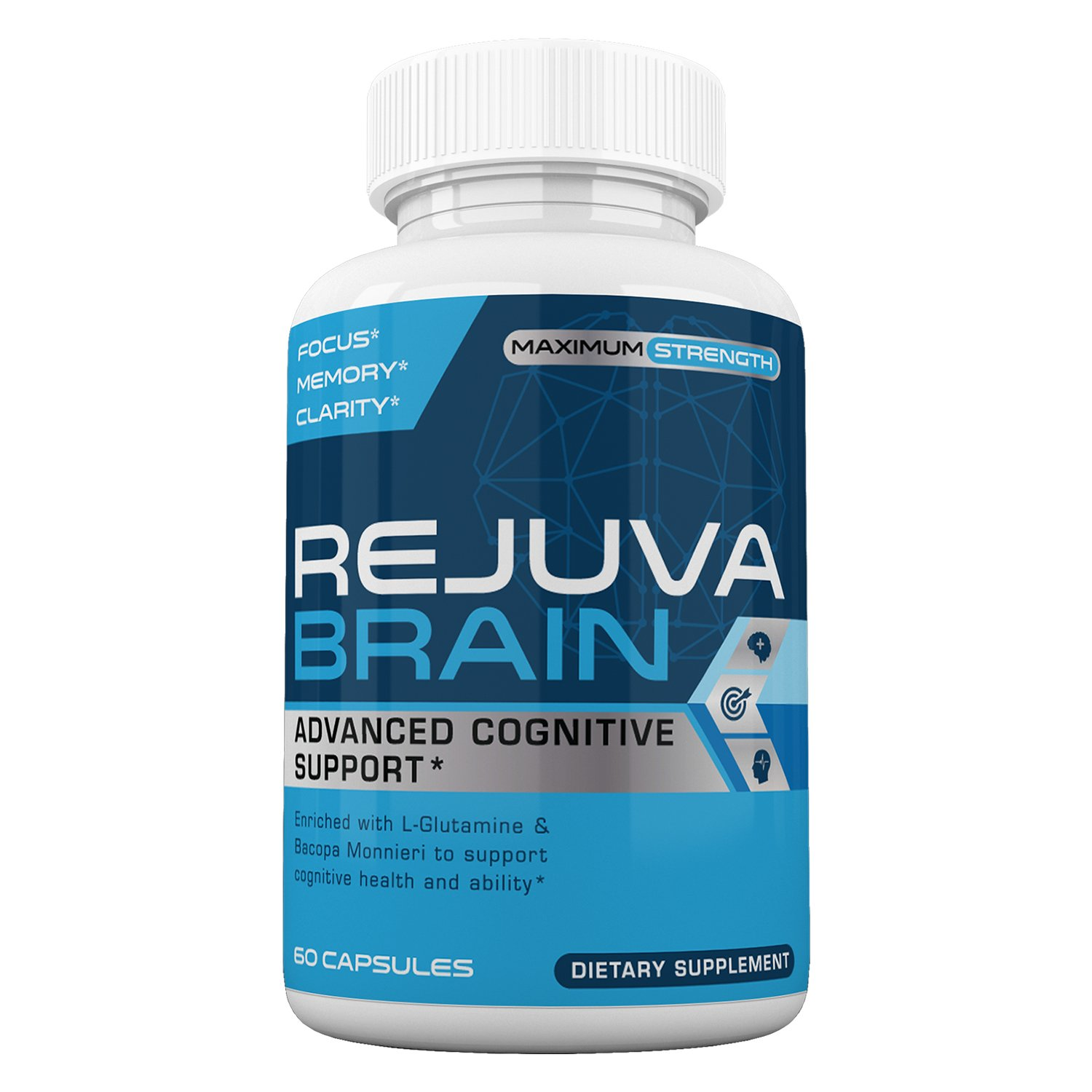 Rejuva Brain- Advanced Cognitive Support- Enriched w/L-Glutamine & Bacopa Monnieri to Support Cognitive Health and Ability by Rejuva Brain (Image #1)