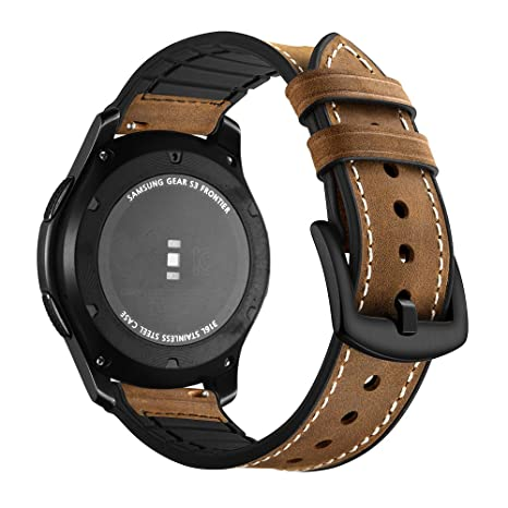 Amazon.com: Compatible with Gear S3 Bands, Galaxy Watch 46mm Band Aottom [22MM] Soft Leather Silicone Replacement Band Stainless Steel Bracelet Wristband ...