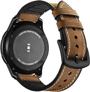Aottom Compatible con Correa Galaxy Watch 46mm, Cuero Correas Samsung Gear S3 Frontier Banda 22mm Smartwatch Pulseras Repuesto Deporte Strap para Huawei Watch GT2/Amazfit GTR 47mm/Galaxy Watch 3 45mm