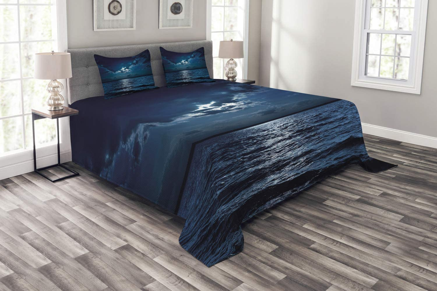 Ambesonne Night Bedspread, Majestic Dramatic Sky Clouds and Full Moon Over Seascape Calm Tranquil Ocean, Decorative Quilted 3 Piece Coverlet Set with 2 Pillow Shams, Queen Size, Dark Blue