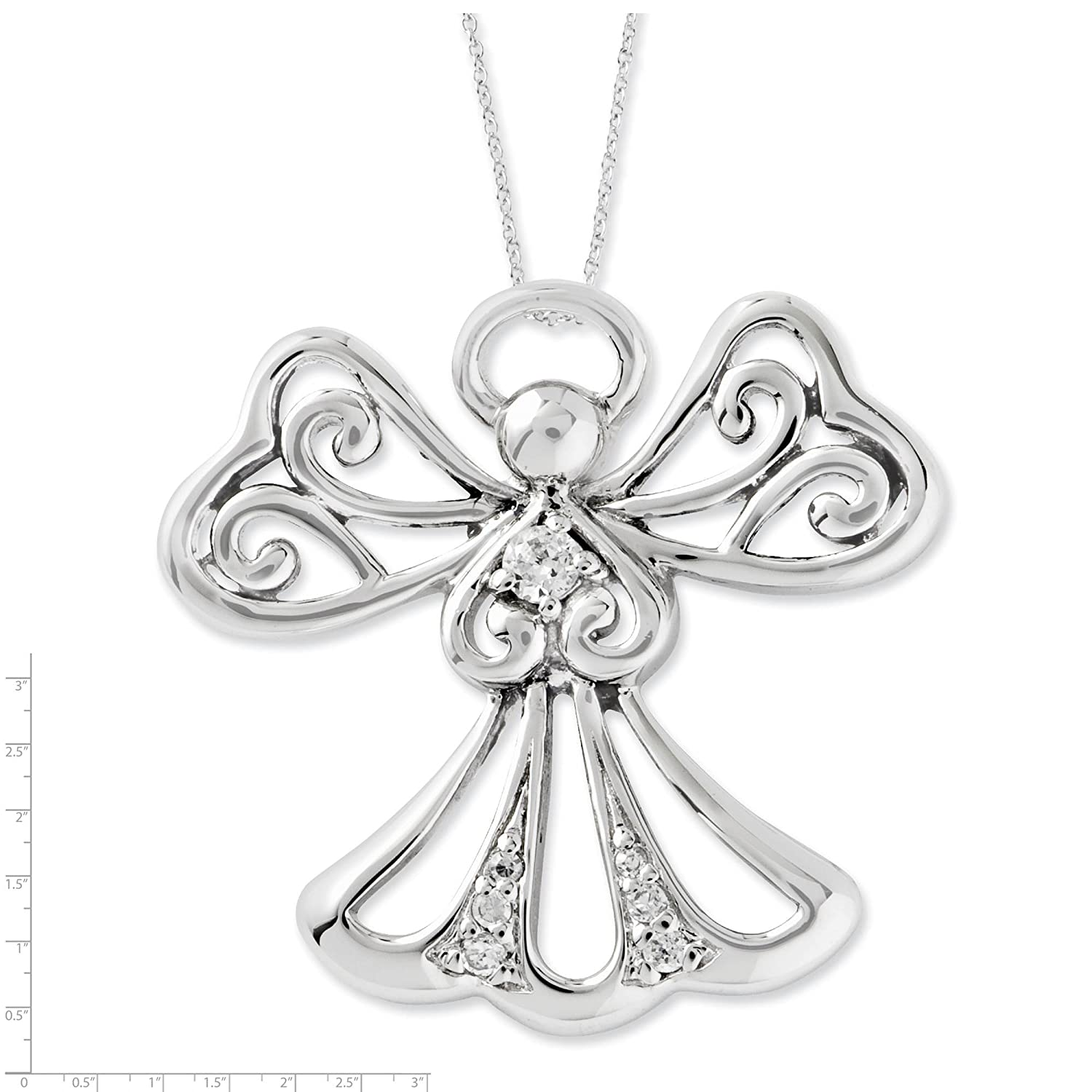 925 Sterling Silver Polished CZ Angel of Kindness Angel Pendant Necklace 18 by Sentimental Expressions
