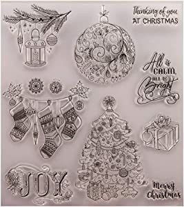 Merry Christmas Joy Tree Decor Balls Giftbox Clear Stamps for Card Making Decoration and DIY Scrapbooking
