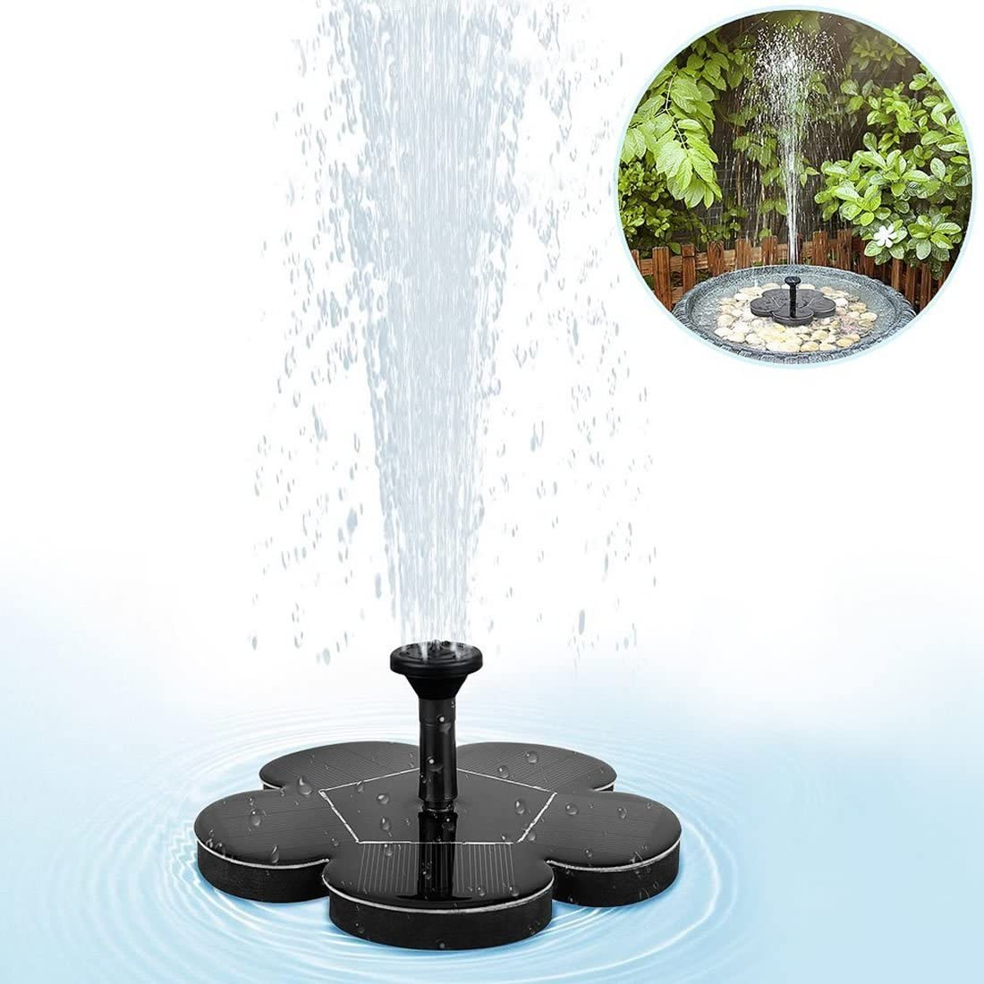 SENCILLO Outdoor Solar Power Vogelbad Wasserbrunnen Pumpe Solar Sprinkler Brunnen f/ür Pool Teich Garten Terrasse Aquarium Dekoration