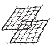 "2Pack 15.7""x15.7"" Cargo Net, Heavy Duty Bungee Net Stretches to 31.5""x31.5"", Gear Helmet Luggage Thicken Netting with 3""x3"" S"