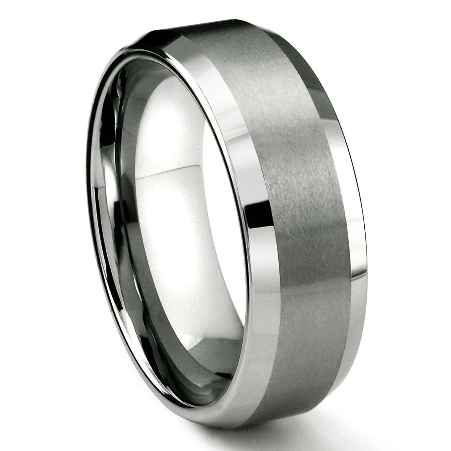Bon 8MM Tungsten Metal Menu0027s Wedding Band Ring In Comfort Fit And Matte Finish  Size 7 16 | Amazon.com