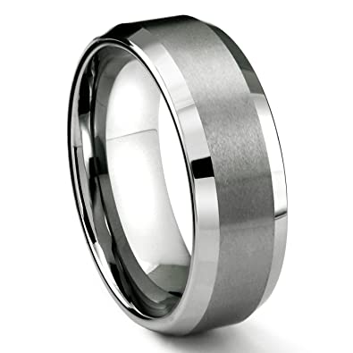 8mm tungsten carbide mens wedding band ring in comfort fit and matte finish sz 50 - Wedding Rings Amazon