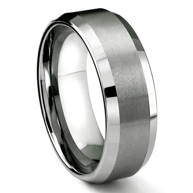 8MM Tungsten Metal Mens Wedding Band Ring in Comfort Fit and