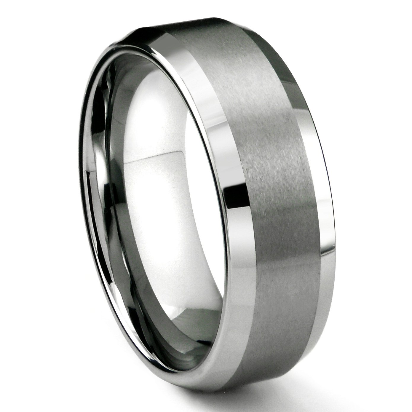 8MM Tungsten Metal Men's Wedding Band Ring in Comfort Fit and Matte Finish Sz 9.5