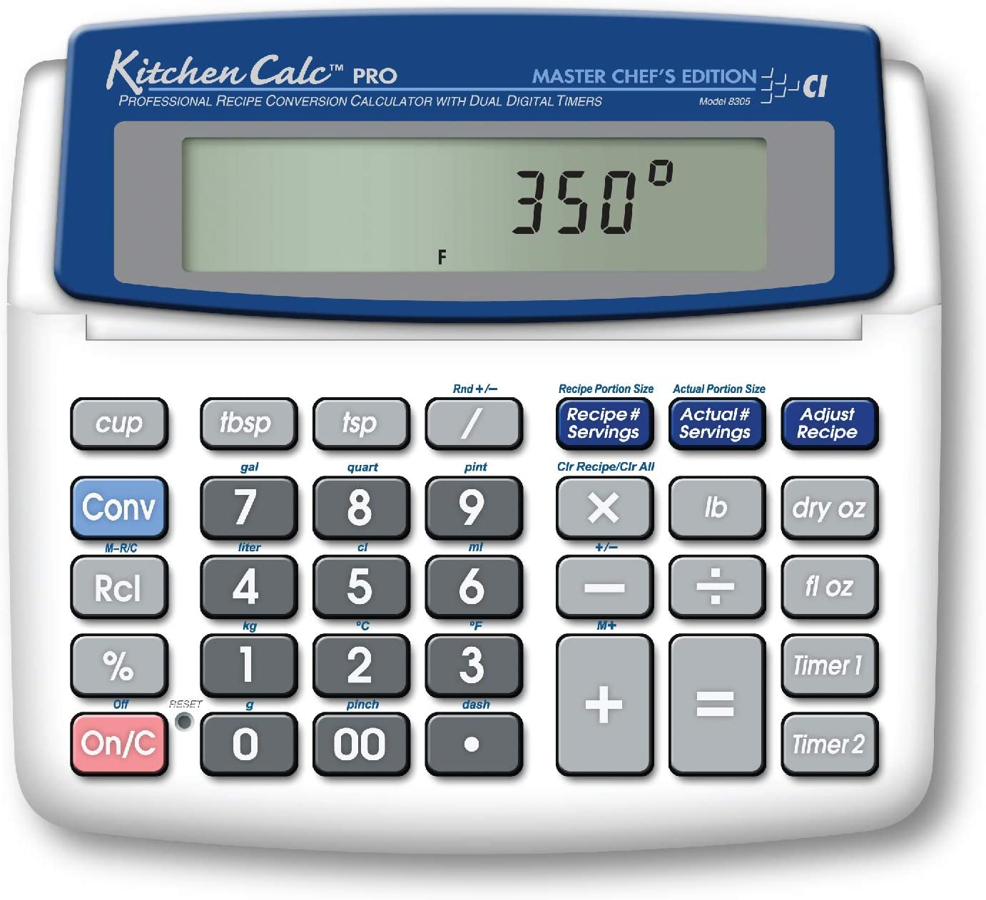 Calculated Industries 8305 KitchenCalc PRO Recipe Conversion and Culinary Math Calculator with 2 Digital Timers for Chefs, Culinary Students, Home Cooks, Bakers, Brewers and BBQers | Recipe Scaling | Menu Planning | Portion Sizing