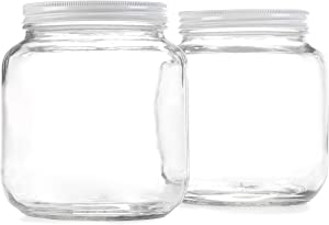 Empty Half Gallon Glass Jar w/Airtight Leakproof Metal Lid, Wide Mouth Easy to Clean, BPA Free & Dishwasher Safe, USDA Certified, Kombucha Tea, Kefir, Canning Sun Tea Fermentation Food Storage, 2PK