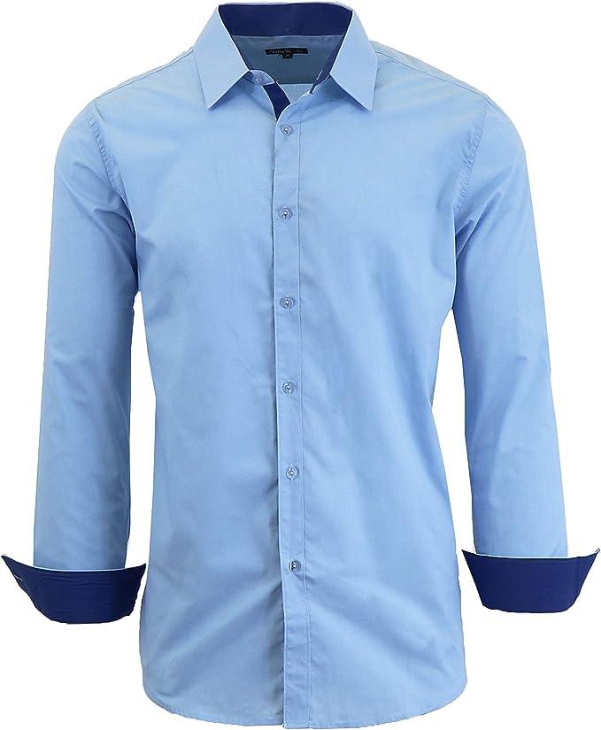 GenericMen Long Sleeve Printed Dress Shirts Button Down Regular Fit Men Shirt