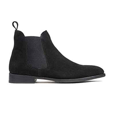 559b5b1bfbe Timberlux New York Black Chelsea Suede Boots, Men Dress Shoes Goodyear  Welted
