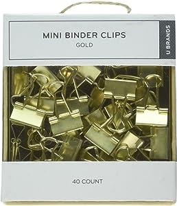 U Brands LLC Mini Binder Clips, Gold, Pack of 40 (763A0624)