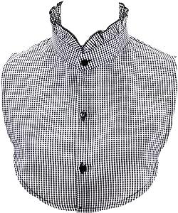 Collar de media camisa, color negro y blanco a cuadros, media camisa, plisado, cuello falso, gargantilla para mujer 3: Amazon.es: Hogar