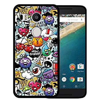 Funda Nexus 5X, WoowCase [ Nexus 5X ] Funda Silicona Gel Flexible Grafiti de Colores Divertido, Carcasa Case TPU Silicona - Negro