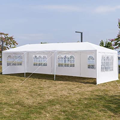 Festnight 10ft x 30ft Garden Outdoor Gazebo Canopy with 5 Sides Removable Walls and Windows Spiral Tubes Frame Heavy Duty Waterproof Patio Party Wedding Tent BBQ Shelter Pavilion Cater Events: Sports & Outdoors