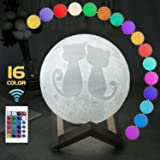 AMOLEN Moon Lamp, 3D Moon Light 5.9 inches Night Light for Kids Gift with Remote and Touch Control 16 Colors, Dimmable and Rechargeable, with Wooden Stand and Rope Hanger
