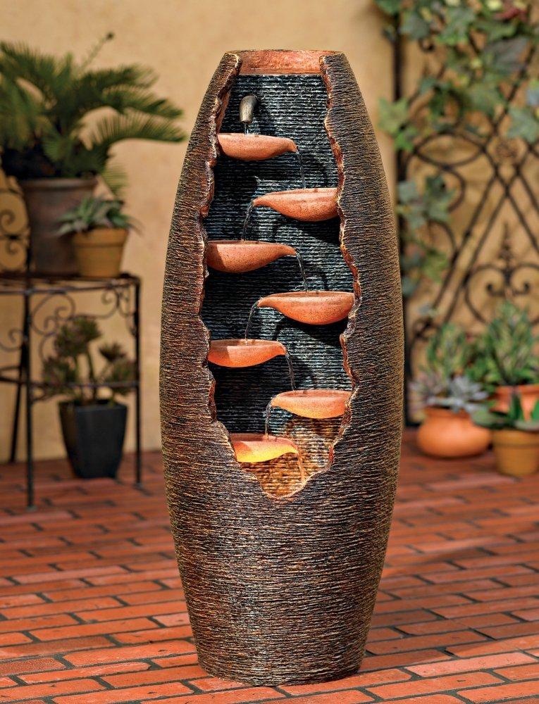 "Seven Cascade Cut-Away Outdoor 35"" High LED Fountain"