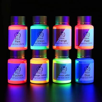 8 x Pintura UV fluorescente pigmento fluorescente en polvo luminiscente color negro para pintura fluorescente fluorescente pintura fosforescente para ...