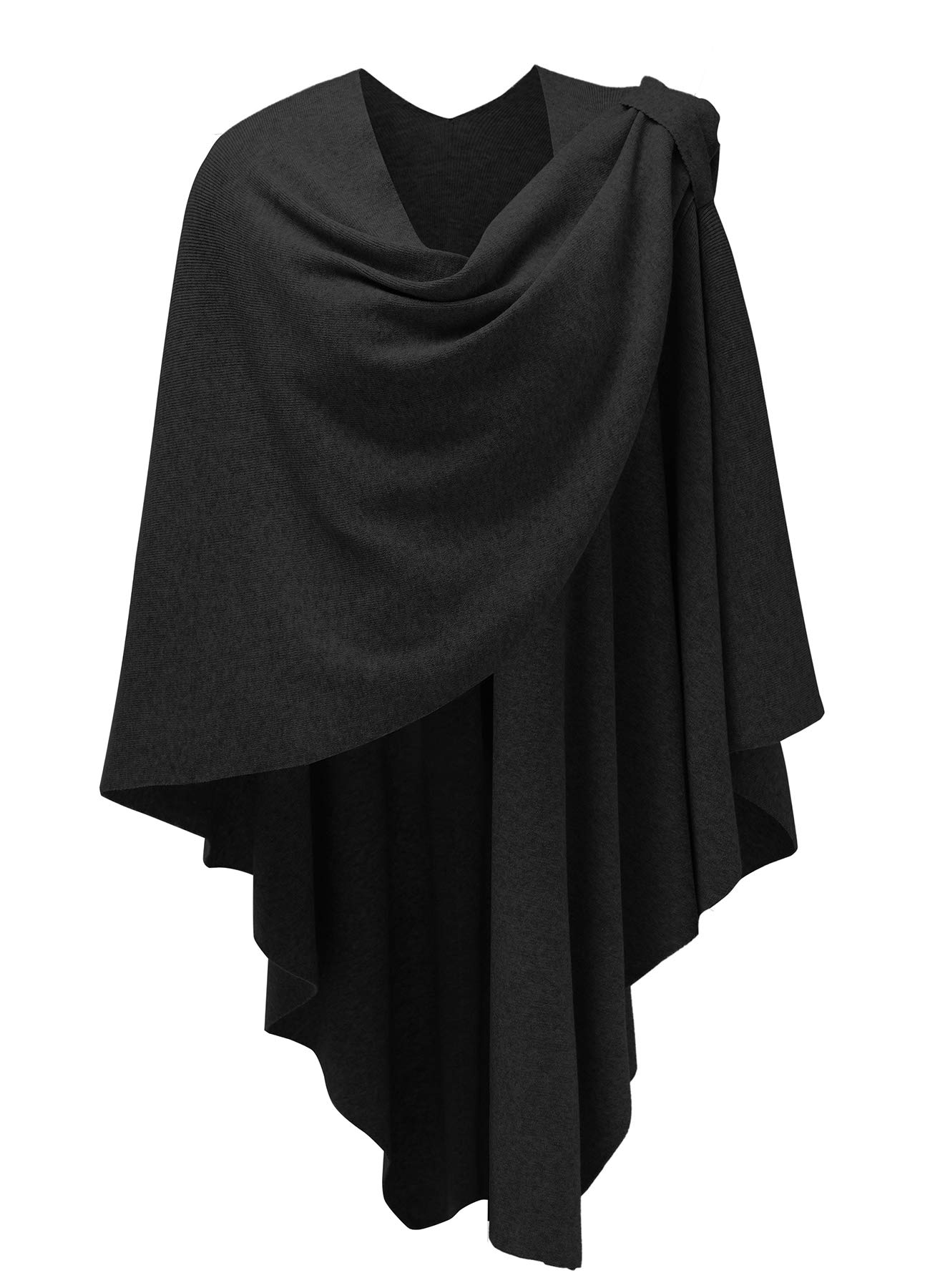 Womens Large Cross Front Poncho Style Sweater Plus Sized Wrap Topper Black by PULI