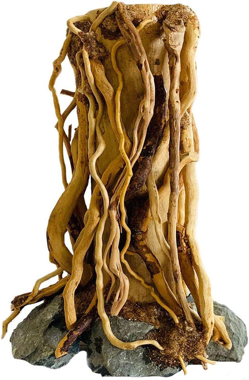 Hamiledyi Driftwood Mini Aquarium Tree on Rock Natural, Handcrafted Fish Tank DecorationTree Stump Forest ShelfHelps Balance Water pH Levels Stabilizes Environments