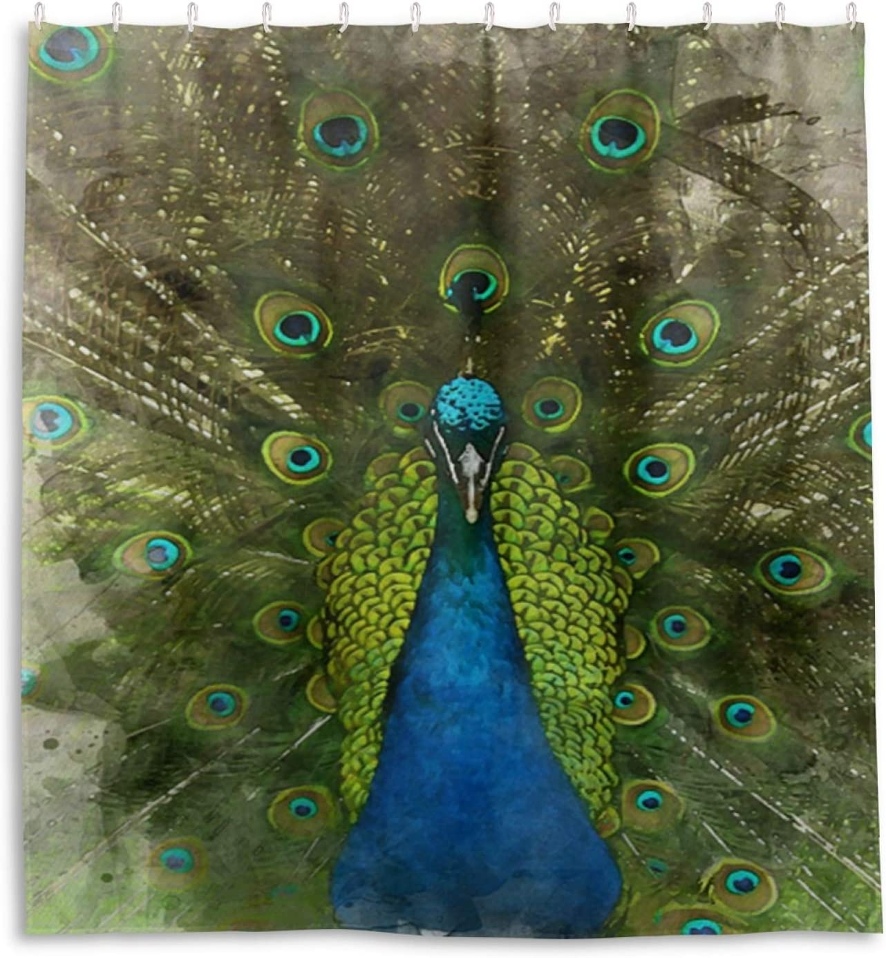 Watercolour Peacock Shower Curtain Waterproof Home Decor Polyester Fabric 66 X72 Inch Kitchen Dining