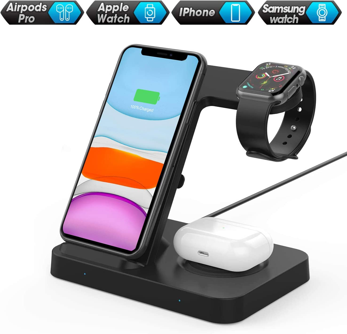 FDGAO Wireless Charger 15W Fast Wireless Charger Stand 3 IN