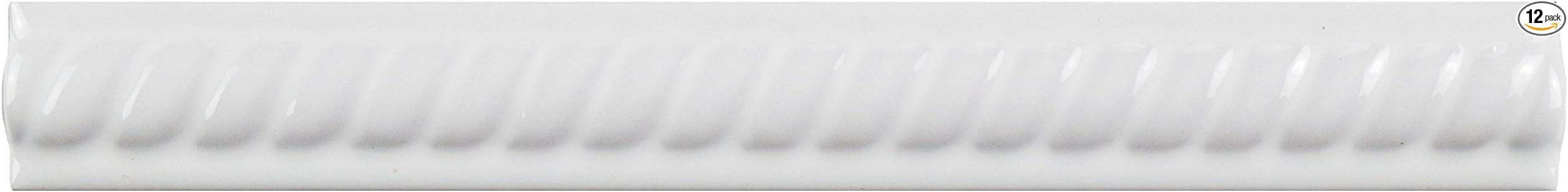 1 x 7.88 SomerTile WAT8TCM Trenzo Ceramic Moldura Pencil Trim Tile Cobalto