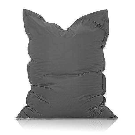 Livodoo® XXL Puf gigante 140 x180cm 400 litros puff xxl puff asiento cojin gigante relleno puff con saco interior en gris oscuro