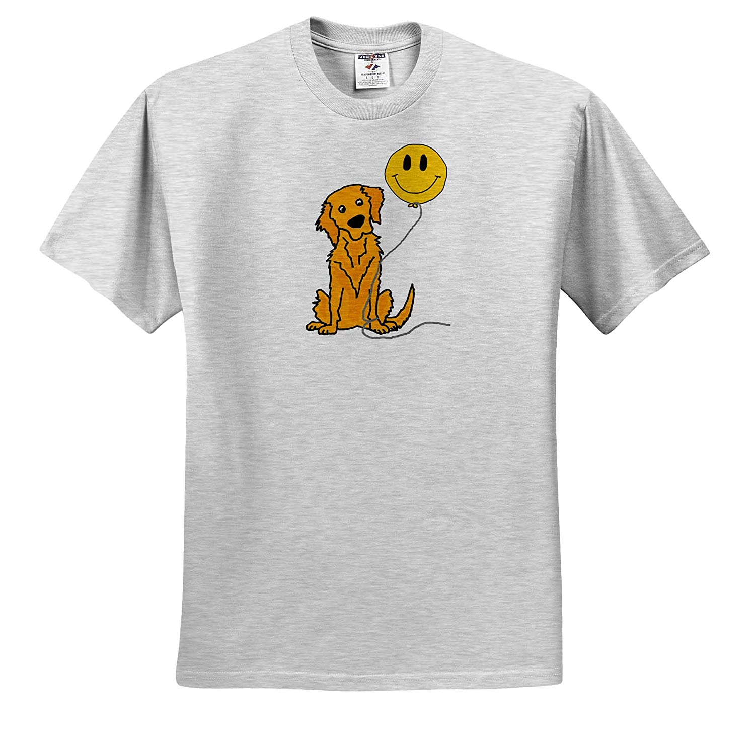 3dRose All Smiles Art Cute Funny Golden Retriever Puppy Dog with Smiley Face Pets T-Shirts