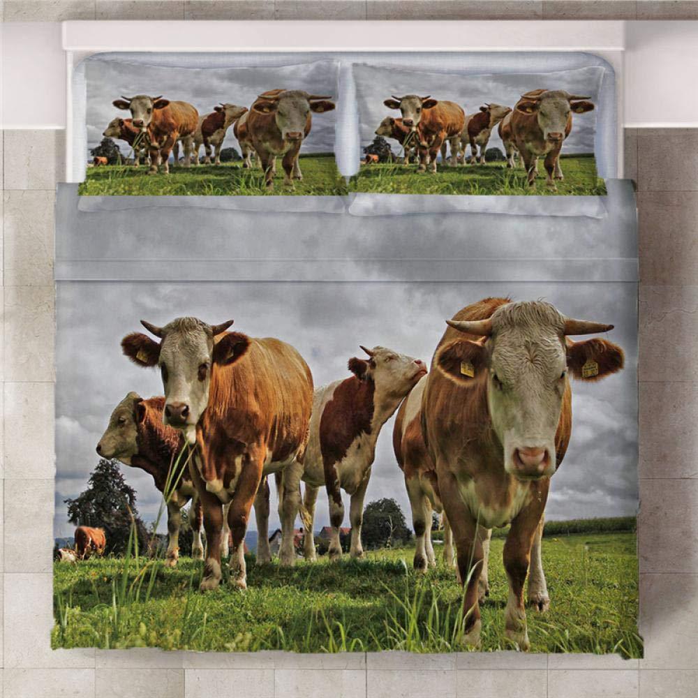 Parure de Lit Double Animal vache des prairies 3 pi/èces Costume 3D Housse de couette avec 2 Taies Doreillers Chambre dEnfants Adultes Facile dentretien