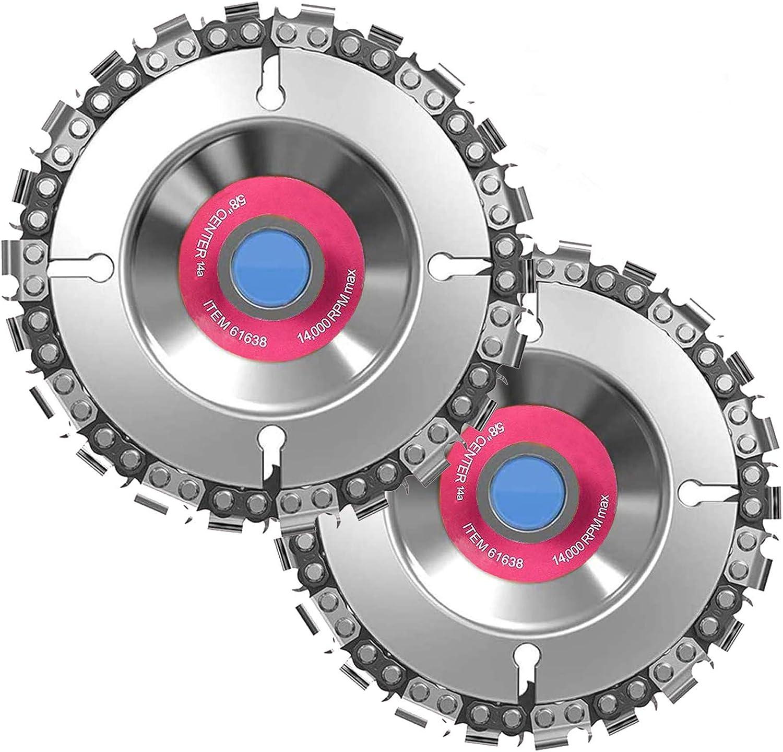 Discos de talla de madera de 10,2 cm (2 piezas), disco de motosierra de 16 mm de diámetro interior, para amoladora angular de 4 o 4-1/2