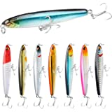 SundayPro Fishing Pencil Lure Topwater Popper Hard Bait Floating Pencil Popper Topwater Fishing Lure for Saltwater and…