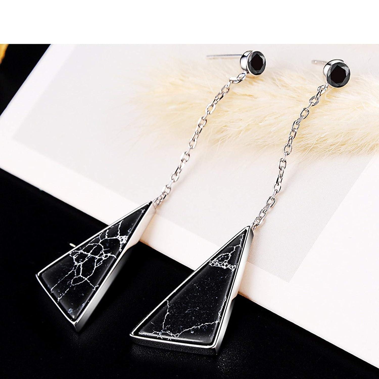 AmDxD Jewelry Sterling Silver Earrings for Girls Silver Black Triangle Stone Stud Earrings for Women Sterling Silver 5.65x1.5CM