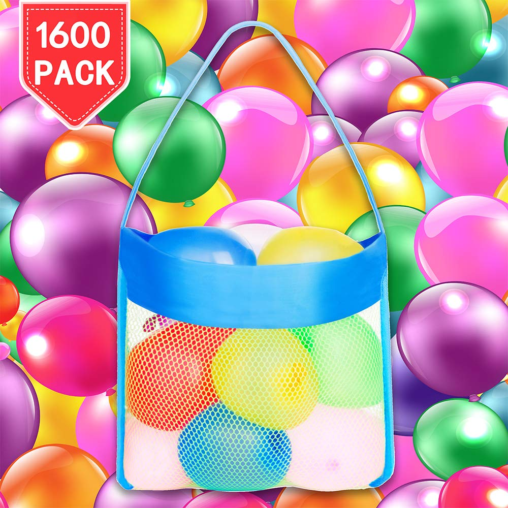 PROLOSO 1600 Pack Water Balloons Refill Kit with Carry Bag